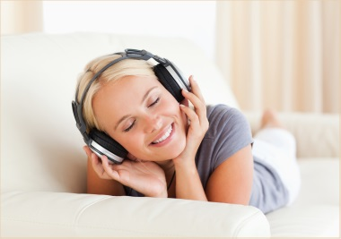 relaxing by listening to music